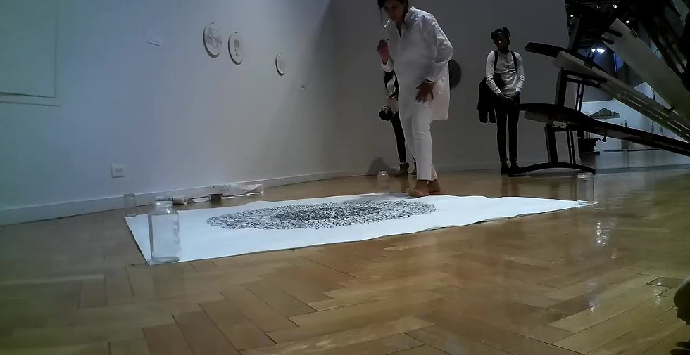 "Sabba Elahi performing ""writing the unknown, version III,"" at Chicago Cultural Center on February 29, 2020.  Part of the exhibition ""In-Flux Chicago Artists & Immigration"""