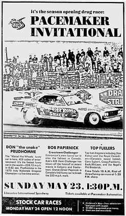 Pacemaker Don Prudhomme Bob Papirnick Crosstown Challenger Edmonton