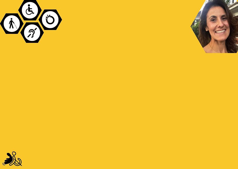 """Banner: fundo em amarelo com um texto descrevendo a história da fundadora da Arquitetando Inclusão. Na parte superior esquerda a ilustração dos 5 tipos de deficiência, com o dizer """"quem somos"""". Na parte superior direita uma foto da fundadora"""