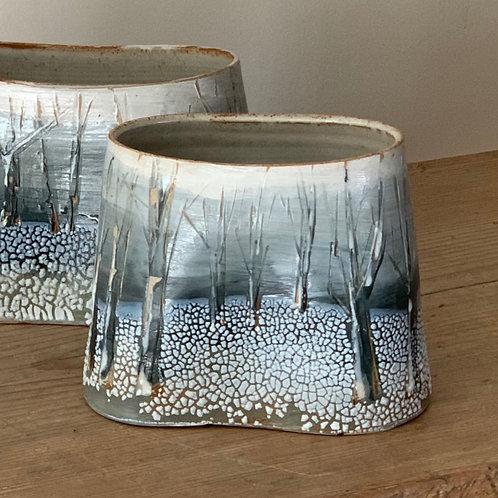 Small snowscape vessel/vase