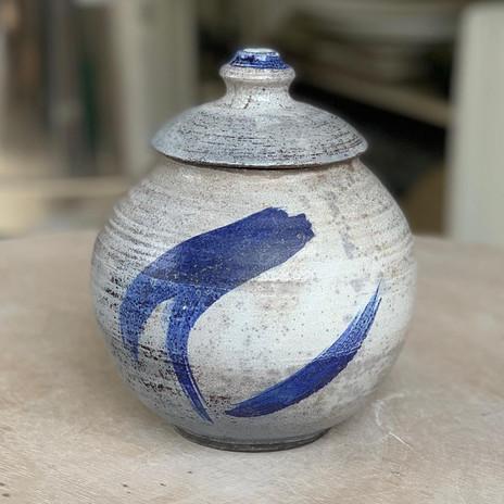 Raku fired lidded jar