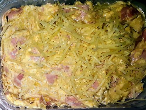 Fricassé de frango com creme de milho e muzarela