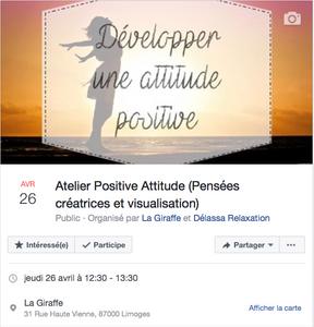 Inscriptions atelier Positive Attitude par FB ou téléphone