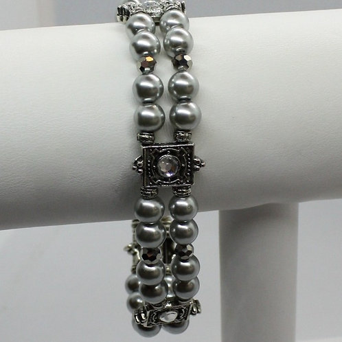 Gray Pearl & Crystal Bracelet