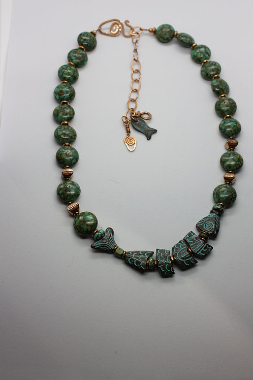 Turquoise & Copper Fish Necklace