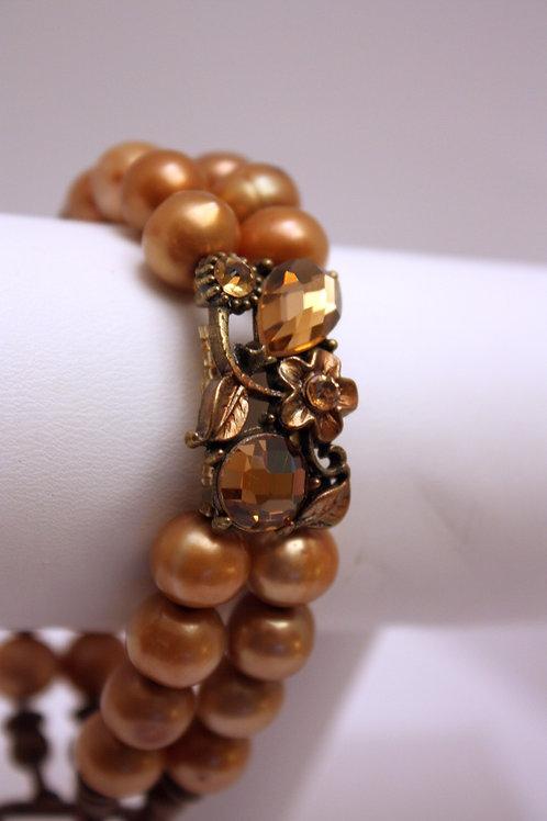 Golden Pearl and Crystal Bracelet