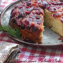 Skillet Cranberry Upside Down Polenta Cake