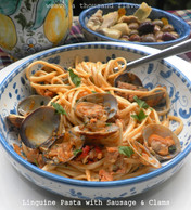 Beloved Sicilia | Linguine with Spicy Italian Sausage & Clams