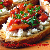 Festive Balsamic Roasted Red Peppers & Goat Cheese Crostinis