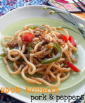 Quick & Easy Stir Fried Udon Noodles with Pork & Peppers