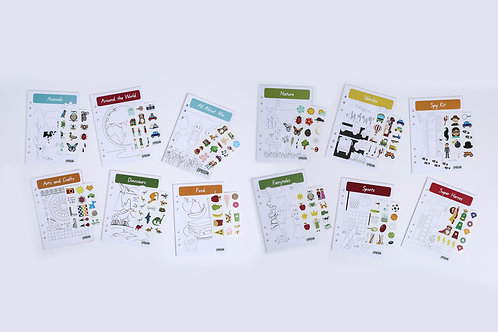 12 month refills inserts, 12 themes, writing pencil, stickers, 12-15 pages activities, monthly, personalised, subscription