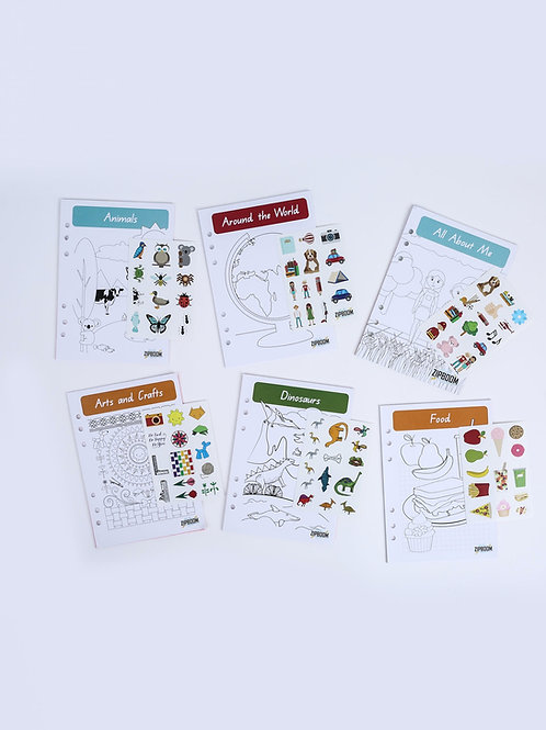 6 month refills, inserts, 12 themes, writing pencil, stickers, 12-15 pages activities, monthly, personalised, children's gift