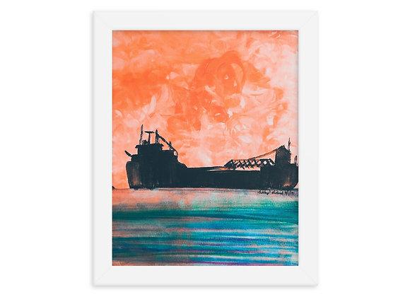 Sunset Freighter Framed Poster Print