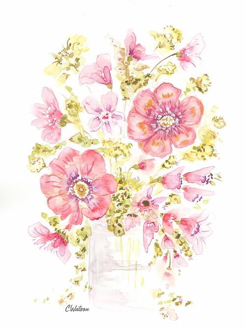 Original dusty rose watercolor  11x15