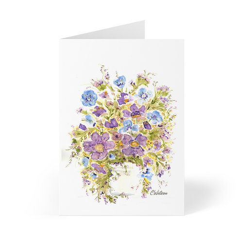 Hand painted and printed Greeting Cards (8 pcs) on Purple and blue