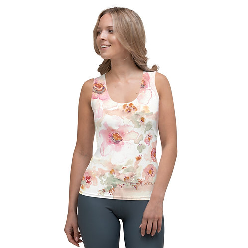 Soft peach watercolor printed on Tank Top