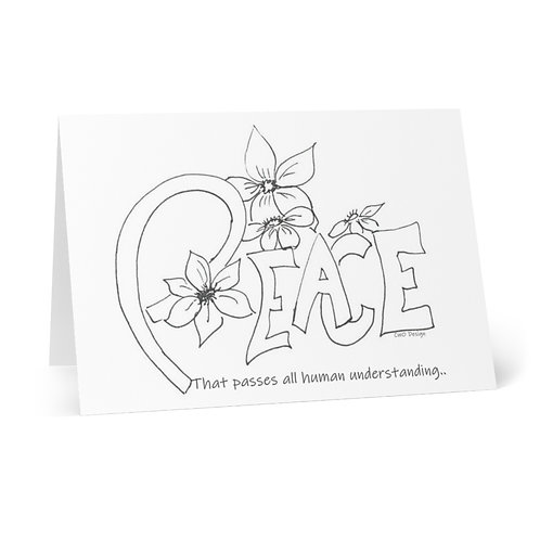 Color you Own PEACE Greeting Cards (8 pcs)  from the pages of Bloom'n Art Studio