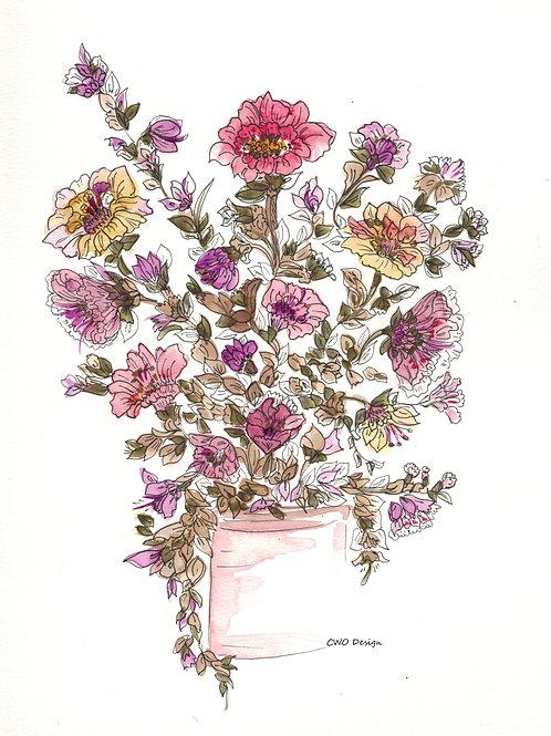 Original Watercolor and Ink 9x12
