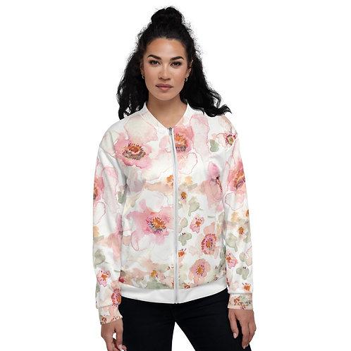 Soft peach watercolor Unisex Bomber Jacket
