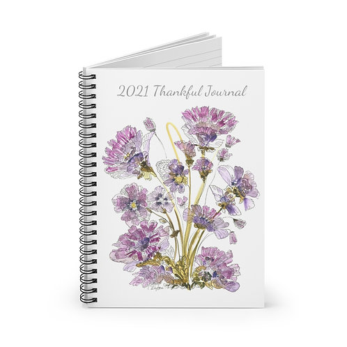 2021 Thankful Journal, Purple Flowers, Spiral Notebook - Ruled Line