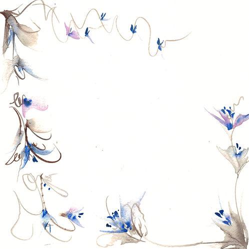 Blue 8x8 original watercolor