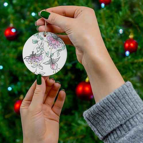 Hand drawn and colored printedCeramic Ornaments