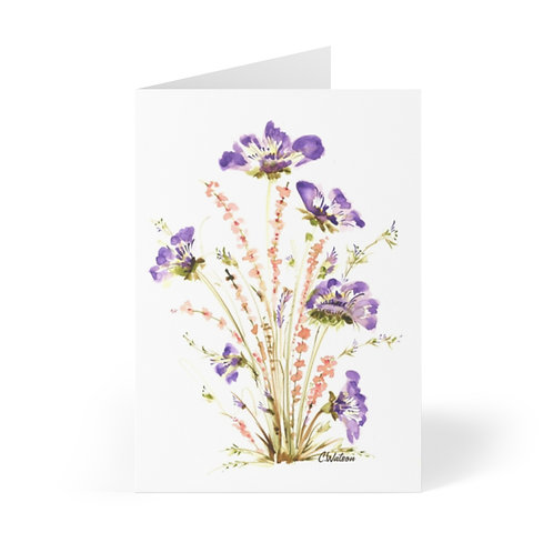 Purple and Orange watercolor painting printed on Note Cards