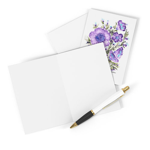 10 Printed Note Cards.  Pretty in purple