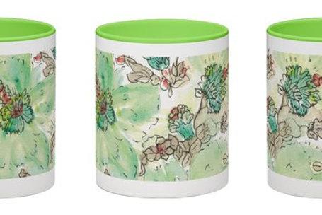 Colorful mugs, coffee or tea.