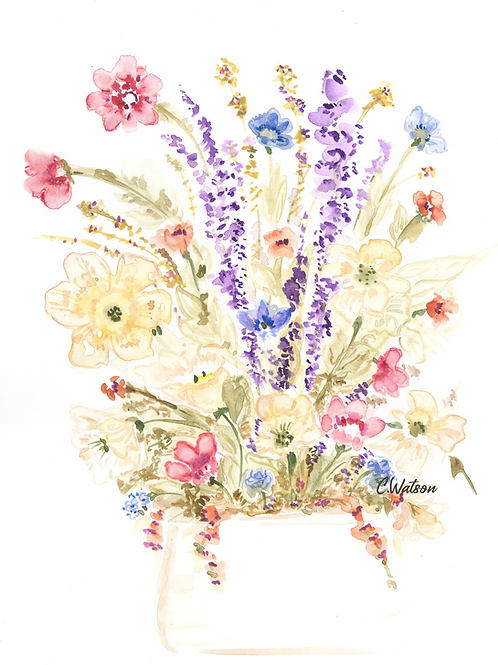 Original wildflower watercolor painting  11x15