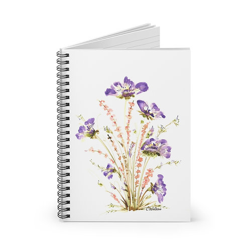 Pretty purple and orange floral watercolor Spiral Notebook - Ruled Line