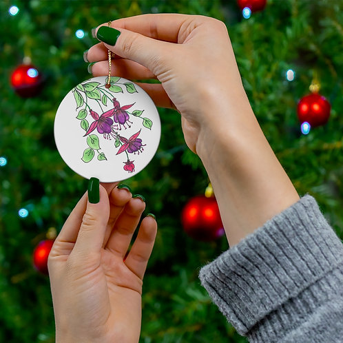 Hand drawn and colored Round Ceramic Ornaments