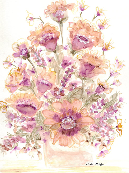 Original Watercolor  Peach andPink