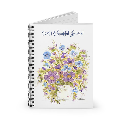 Blue and Purple 2021 Thankful Journal,  Spiral Notebook - Ruled Line