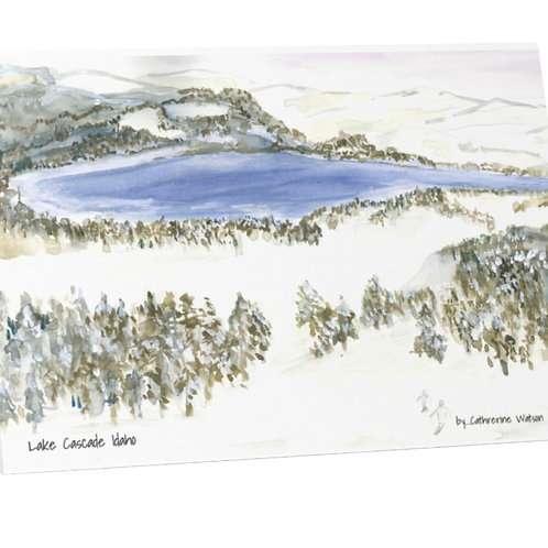 Cascade Lake in the winter, 4x5 blank cards