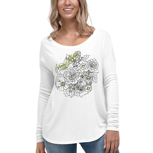 MERRY CHRISTMAS Black, White with a touch of Yellow Ladies' Long Sleeve Tee