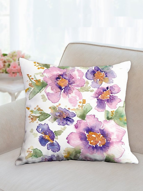 Purple and pink watercolor pillow 18x18