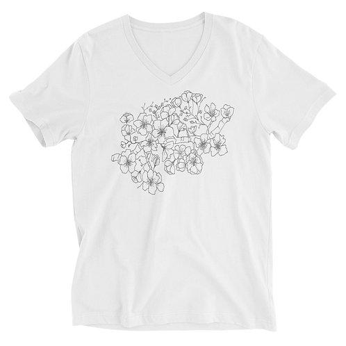 Cherry Blossom Short Sleeve V-Neck T-Shirt