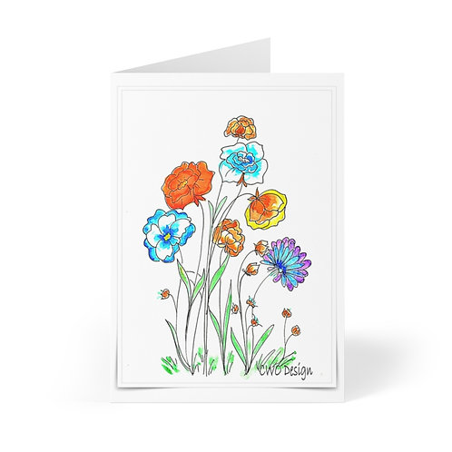 Coloring page colored and printed on Greeting Cards (8 pcs)