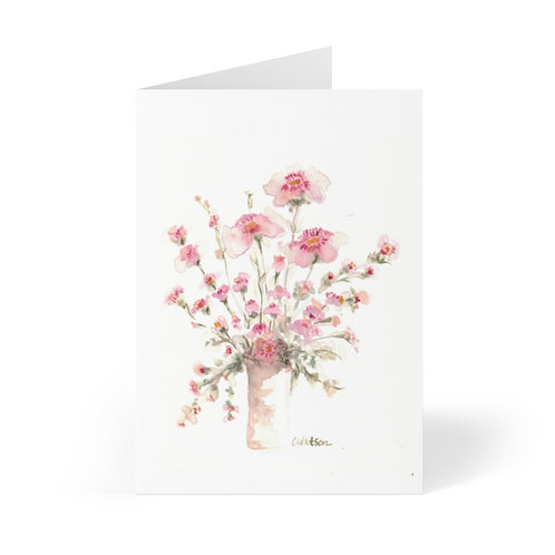 Pretty little pink floral  4x5   10 blank note cards