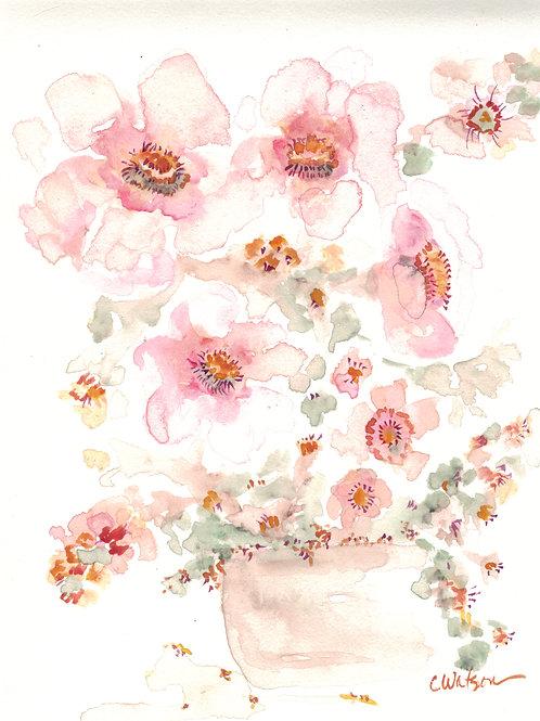 Original Watercolor, soft pink colors