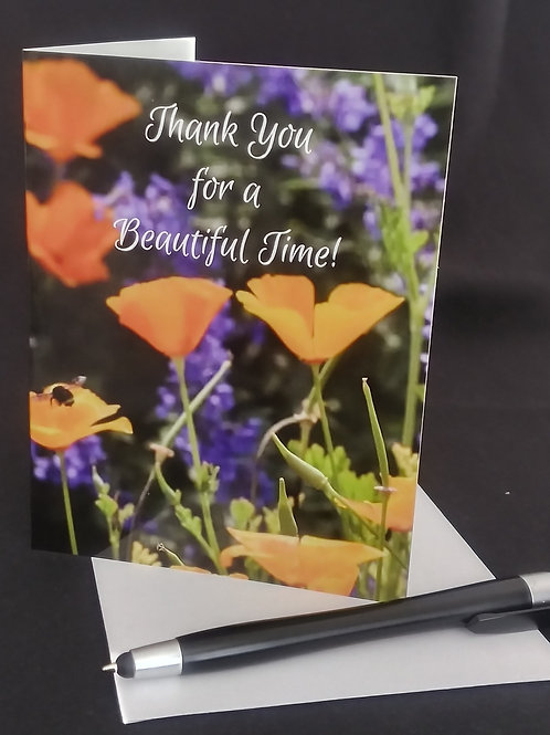 Poppies and Lavender Thank you card