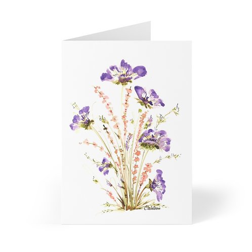 Very pretty Purple and orange watercolor flower Greeting Cards (8 pcs)