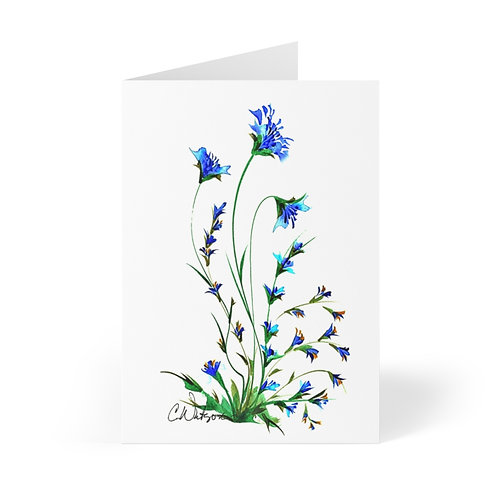 Blue original water color from the 90's printed on Greeting Cards (8 pcs)