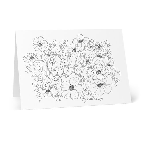 Color your Own FAITH Greeting Cards (8 pcs) from Bloom'n Art Studio coloring bk