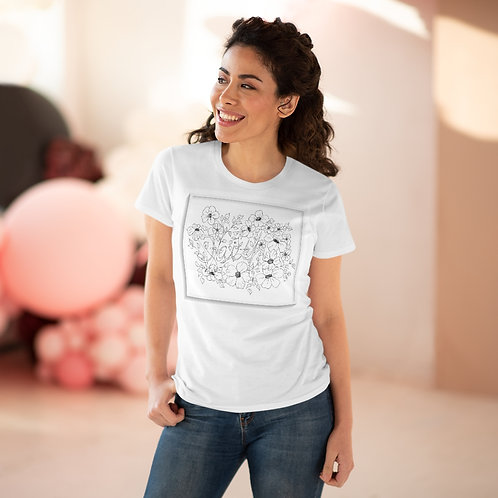 Color your Own Wearable art on this Women's Premium Cotton Tee  by CWO Design