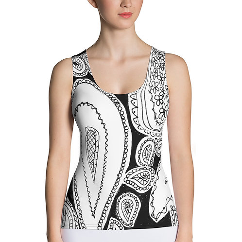 Black and White Wearable Art Tank Top