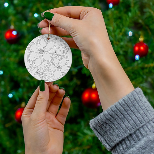 Leave Black and White or color in the Round Ceramic Ornaments