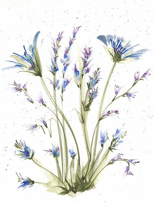 Original Watercolor in shades of Blue