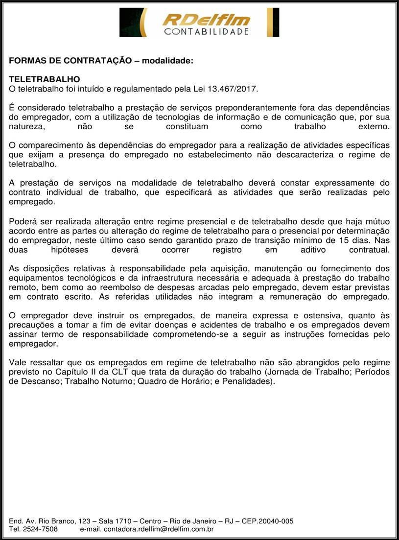 Teletrabalho- Lei 13467/2017